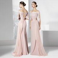 Wholesale Blush Pink Bridesmaid Dresses Cheap Off Shoulder Half Sleeves Lace Chiffon Long Floor Formal Occasion Gowns Bridesmaids Wedding Party Gowns