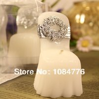Wholesale H049 X4 X7cm SILVER wedding Chair candles Favor Wedding Gift romantic smokeless decoration party