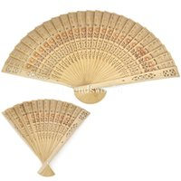 Wholesale Handmade Bridal Fans Wood Hand Fans Hollow Out Folding Fans Sunflower Pattern Wedding Accessories New Arrival Bridal Accessories
