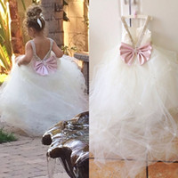 Wholesale Princess Flowergirl Dresses Ball Gown Flower Girls Wedding Party Gowns Soft Tulle Crystals Bow V Back Custom Made Fairy Sweep Train