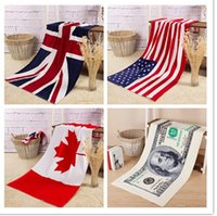 Wholesale PrettyBaby Printed National American Canada England Flag Dollar towel Cotton Soft Beach Towel cm Children Gift For Kids