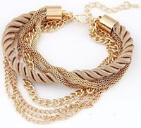 tungsten bracelet - New Bohemia18K Gold Plated Rope Weave Tassel Bracelets Charm Multilayer Bracelets Bangles Statement Bangle Bracelet For Women