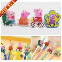 Wholesale Cartoon pen pencil accessories Cute Pig pvc pen cap pencil decoration for promotion