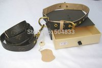 Wholesale Designer Dog Pu Leash Collar pc Set Classic Print Puppy Pets Lead High Quality Leather Coffee Exquisite Gift Box Favourite