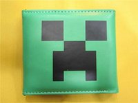 Wholesale Free shpping cm Minecraft JJ Blame Creeper PU leather Wallet Purse Card Bag