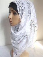 Wholesale Summer Lace Wedding Hijabs Muslim Turban Headscarf With Beads Romantic White Hijabs