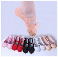 Wholesale Women Ballet Dance Shoes Hot Children Soft Sole Girls Ballet Shoes For Kids Adult Ladies Fitness Breathable Canvas Practice Gym Slippers