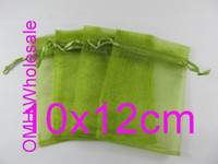 Wholesale OMH x12cm olive green color Jewelry festival wedding Christmas voile organza Packaging gift bags BZ03
