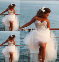 Wholesale Sexy Sweetheart Hi Lo Prom Dress For Teens Pearls Cocktail Party Gowns Short Front Long Back Tulle Formal Homecoming Dresses Plus Size