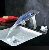 Cheap LED Widespread Bathroom Faucet Best basin faucet