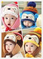 Wholesale 2015 Winter Fashion Bear Add Velvet Children Thickened Warm Outdoor Baby Kids Winter Ear Protection Hat