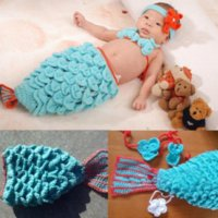 baby vest knitting pattern - 1 Set Infant Baby Handmade Wool Knit Crochet Bubble Sleeping Bags Mermaid Pattern Hat Cap Photography Photo Prop Bra