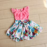 TuTu korean children clothing - 2015 GIrls Summer Dresses Korean Floral Chiffon Children Princess Dress Sweet Lace Cute Kids Cool Dresses Child Clothing TR149