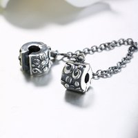 Wholesale Romacci S925 Sterling Silver Safety Chain Fashion DIY Jewelry Fits for mm Charm Bracelet Flower Pattern Fine for Women Trendy