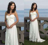 empire waist - Empire Waist Vintage White Ivory Beach Summer Wedding Dresses sexy Pregnant wedding Dress Prom gowns Chiffon Plus Size vestido de noiva