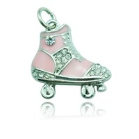 Wholesale High Quantity Fashion Charms Alloy Pink Rhinestone Skating Shoes Charms For Kids DIY Jewelry Accessories ESS001