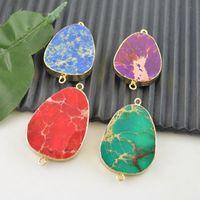 Wholesale 10pcs k Gold Plated Edge Mixed Color Druzy Stone Connectors Beads fit bracelet