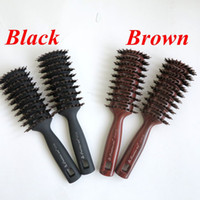 best hair color salon - Boar Bristle Hair Brush Brown Color Comb Brush for Hair Extensions Professional Hair Comb for Salon best selling