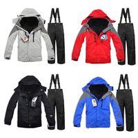 Wholesale DHL three in one men winter ski jacket pants snowboard suit right pocket outdoor waterproof snow jacket for men