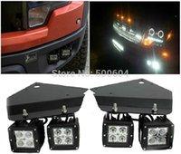 Cheap F150 Raptor Dedicated front fog light bracket Car truck lighting upgrade kit Led Spot Aux Head light DRL Daytime running light