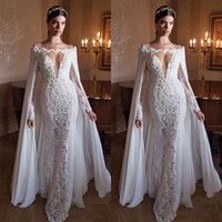 Cheap 2015 Berta New Arrival Wedding Dress with Cape Shawl Stunning Off Shoulder Mermaid Wedding Dresses Sexy Lace Bridal Gowns Sweep Train Sexy