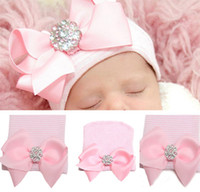 Wholesale Newborn Infant Toddler Girls Baby Stripe Bowknot Beanie Hat Comfy Hospital Cap Kids Pink Knitted With Diamond Cap JH16 H01