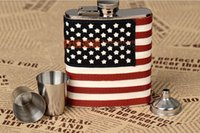 american flag flask - High quality wine accessories American flag thickening stainless steel hip flask oz portable exquisite gift set