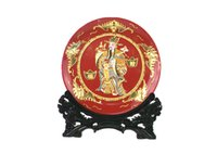 enamel paint - High grade art paint line carve handicraft Chinese style gifts colored enamel mammon New Year quotation tray