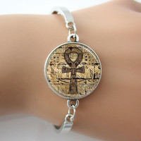 ankh rings - Egyptian Ankh Eternal Life Symbol Glass Dome Jewelry Bracelets Bangle Plated antique silver Charm Rhodium Circle New Bangle