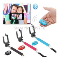 Wholesale Extendable Selfie stick Portrait Handheld Monopod Wireless Bluetooth Remote Shutter Control for IOS Android Phones Z07