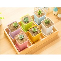 square vase - Bonsai Planters Plastic Table Mini Succulents Plant Pots and Plate Gardening Vase Square Flower Pot Colorful
