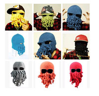winter animal hat - 2015 winter Locomo Tentacle Octopus Cthulhu Knit Beanie Hat Cap Wind Ski Mask Octopus Cap Funny Hat Christmas Fashion Adult Hat colors