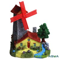 fish decorations - Resin Holland Windmill House Towers Fish Tank Ornament Cave Aquarium Decoration Landscape Castle