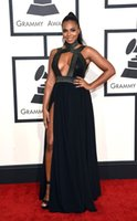 ashanti dress - 2015 th Grammy Sexy Black Evening Gowns With Front Slits Custom Made Floor Length Ashanti Red Carpet Pageant Dresses LH