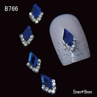 alloy stone art - ails Tools Rhinestones Decorations B766 Shiny D Diamond Nail Art Zircon Alloy Gem Blue Rhinestones Stone Nail Slices DIY Dec