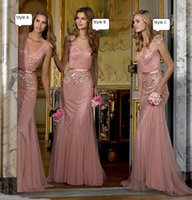 Wholesale New Bridesmaid Dresses Blush Pink Tulle Deep V Neck Blingbling Sequins Appliqued Floor Length Maid Of Honor Dresses Real Images Dhyz