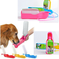 Cheap Wholesale-New 2015 Portable Foldable Plastic Feeding Bowl Dog Cat Travel Pet Water Bottle
