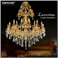 alloy deco zinc - Zinc Alloy crystal chandelier light Large Golden color Crystal Pendant Lamp Project V V Light Fixture MD3134