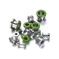 Precio de Pendientes del pezón-14pcs / lot quirúrgicos barras de bar de anillos de acero lengua pezón verde joyas pendiente cuerpo de acero inoxidable penetrantes