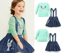 Wholesale British Style baby girl strap dress cotton casual denim dress clothing style slip dress with cute rabbit embroidery Long sleeve T shirt