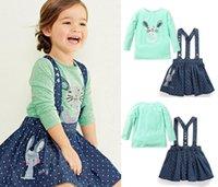 gradient denim shirt - British Style baby girl strap dress cotton casual denim dress clothing style slip dress with cute rabbit embroidery Long sleeve T shirt