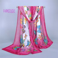 butterfly scarf silk - New Chiffon Scarf Butterfly scarf Printed Long Spring Winter Silk Scarf Wrap fashion accessories