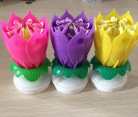 amazing candles - Amazing Romantic Musical Lotus Rotating Happy Birthday Candle red pink yellow purple blue can choose