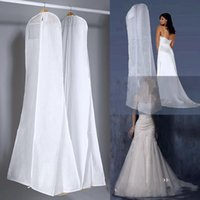 wedding dress garment bag - Hot Sale All White Cheapest Wedding Dress Bag Garment Cover Travel Storage Dust Covers Zipper Long Bridal Accessories For Bride In Stock WX