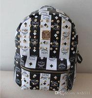 Wholesale 2015 MCM Korea rivets college student bag shoulder bag computer bag backpack PU leather MCM bag h260