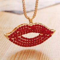 Envío de la manera del precio de fábrica Promoción mayor de China Diseño del diamante libre barato pendientes de la joyería Labios Labios Sexy Collar N43926
