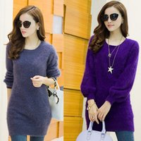 Women mink cashmere - Lantern Sleeve Longhaired O Neck Mink Cashmere Sweater Pullover Dress Winter Outwear Fashion Colors Cashmere Pullover Sweater ZH028