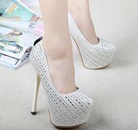 Cheap New Design 2015 Cheap Rhinestone High Heel Wedding Shoes White and Black Crystal Round Toe Platform Evening Prom Bridal Shoes