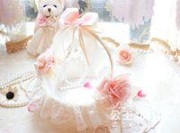 Wholesale Cheap Cute Pink Wedding Bridesmaid Petal Storage Baskets Handmade Weave Girls Portable Basket Lace Edge Wedding Accessories In Stock Hot LN