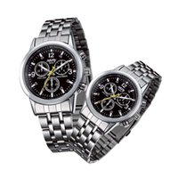 Wholesale Watch Alloy Steel Waterproof Watch Case Quartz Watch a couple Of Students Tricolor Three Decorative Pin No Real Function6033